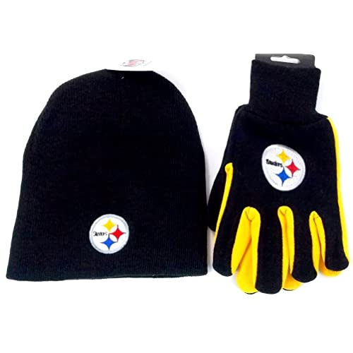 Pittsburgh Steelers NFL Licensed Black Knit Beanie and Utility Glove Set Hat  Gift 8f7590334