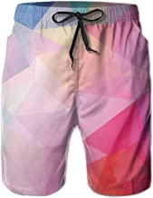 MSGDF Brooklyn Bridge Sunset with Manhattan Men Beach Shorts Swimming Trunks Quick Drying Board Shorts with Pockets