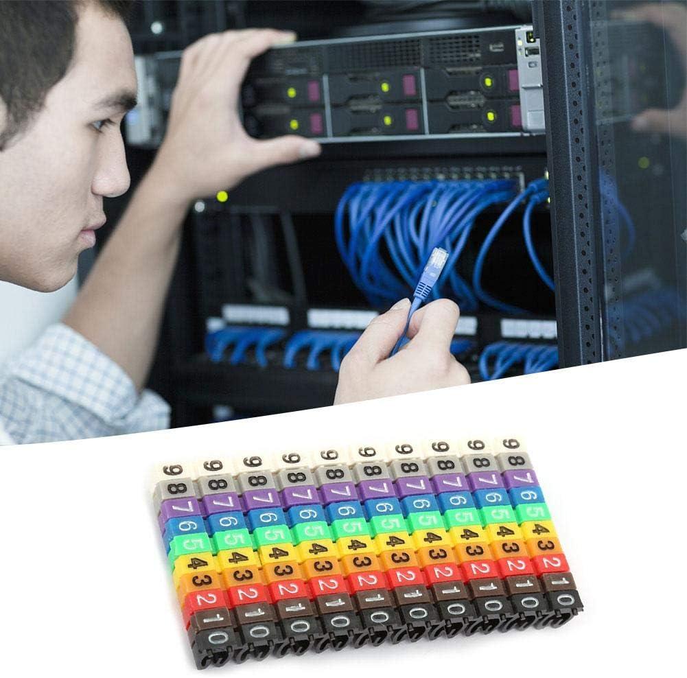 1.5mm/² Marcador de cables Tubo 0~9 N/úmero digital Tubo N/úmero de cable Etiqueta Tubo Marcador de cables Colorido