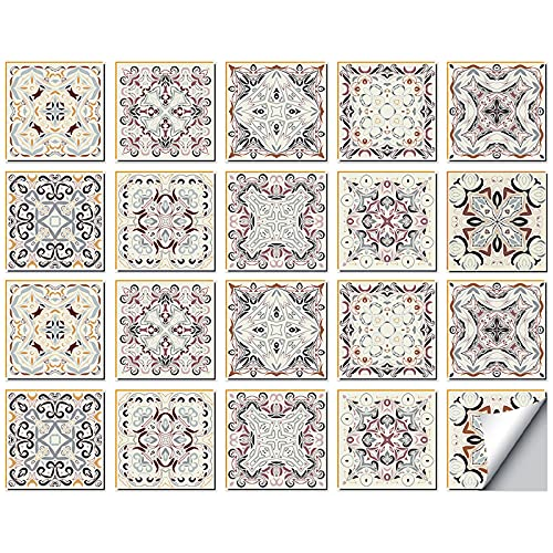 20 pegatinas de azulejos autoadhesivas de Mosaico, azulejos de pared impermeables, papel de azulejos, bricolaje, para decoración de casa, cocina, cuarto de baño, 15 x 15 cm