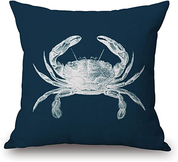 Happy Cool Cotton Linen Rurality Flowers Birds Fashion Decorative Throw Pillow Cushion Cover 18 X 18 Crab