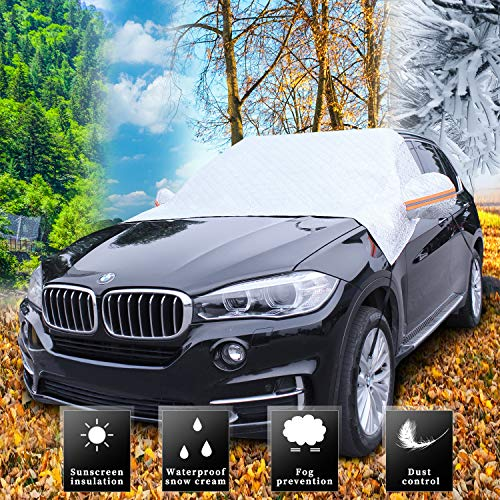 MUSTBEE Car Snow Cover, Car Windshield Snow Ice Cover with 4 Layers Protector, Waterproof Windshield Winter Cover for Ice,Snow,Frost,UV Protection, Extra Large Size Fits for Most Vehicles