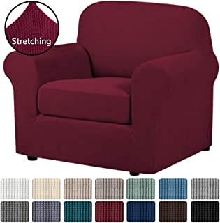 H.VERSAILTEX 2-Pieces Armchair Cover Super Rich Chair Slipcover/Furniture Cover Arm Chair Covers for Chairs, Knitted Jacquard Spandex Chair Cover Stay in Place, Skid Resistance (Chair, Burgundy)