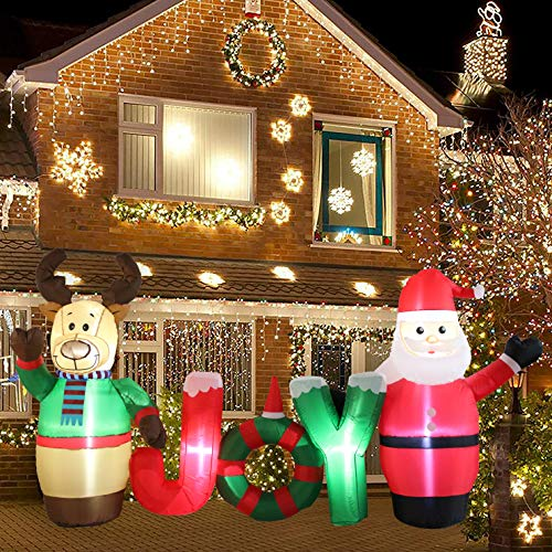 Kurala 8 FT Long Lighted Christmas Inflatable Santa Claus and Reindeer Party Yard Indoor Outdoor Decoration