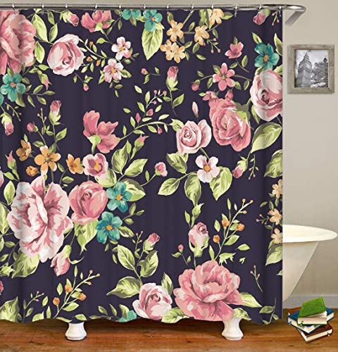 Raymall Floral Shower Curtain Flowers Blossom Dark Violet Black Orchid Plum 72x72 Inches Waterproof Washable Polyester Fabric with Hooks for Bathroom Decor