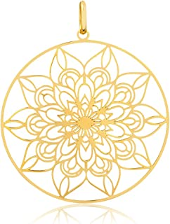 14k Solid Yellow Gold Mandala Shaped Pendant for Necklace for Women