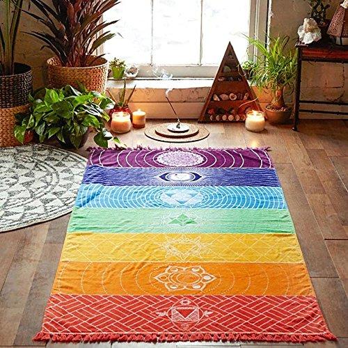 USHOT Rainbow Chakra Tapestry Towel Yoga Mat Sunscreen Shawl Tapestry Hippy Boho Gypsy