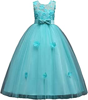 Cocaker Girl Sleeveless Embroidery Princess Pageant Dresses 3-8 Year Kids Prom Ball Gown
