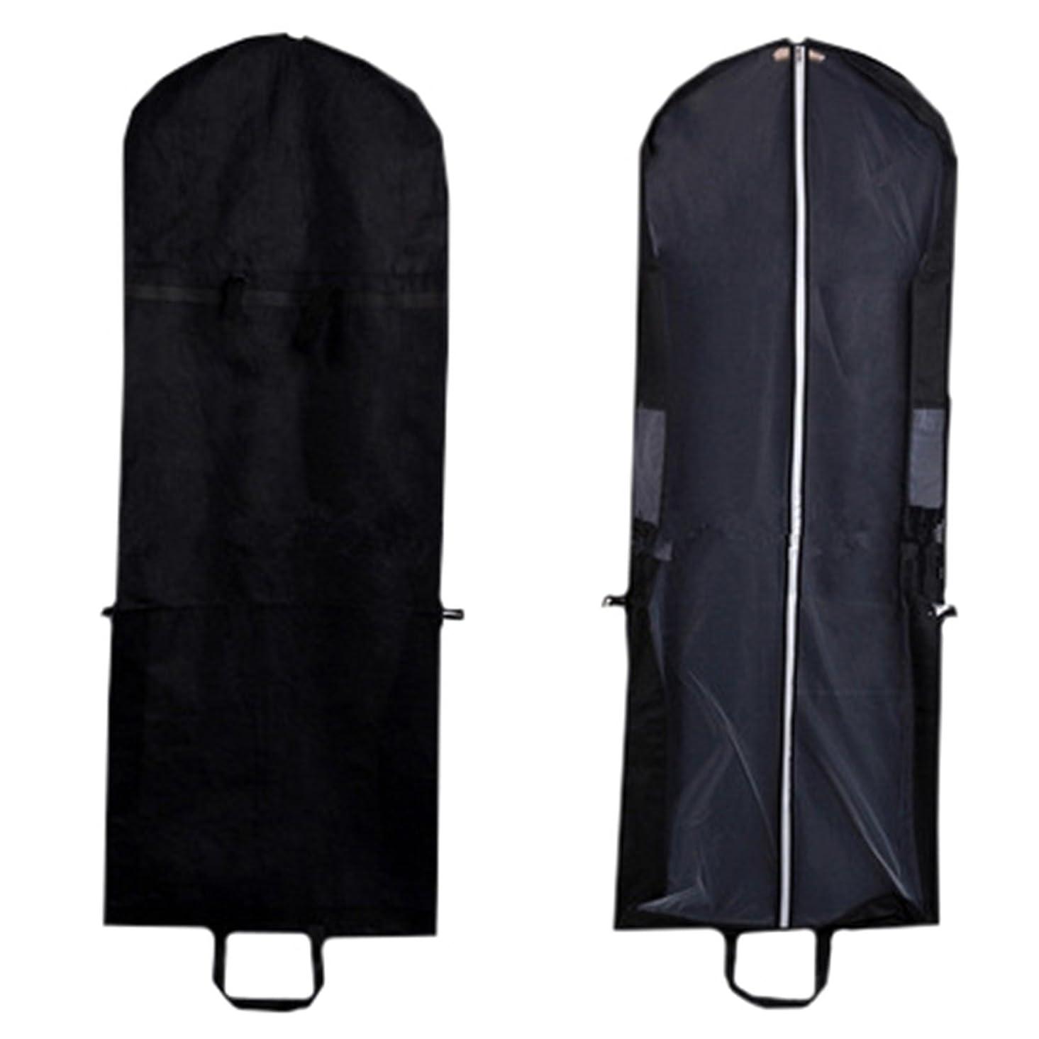 追記ようこそ混乱ZERONOWA ドレスカバー ロング ロングドレス ウエディングドレス 保管 収納 コロコロ付き (ブラック 3枚)