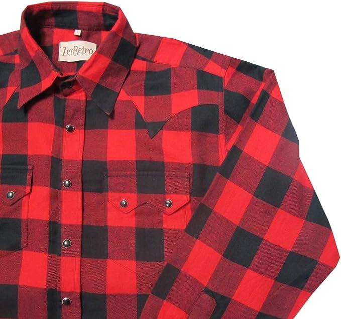 ZenRetro Hombre Camisa roja a Cuadros Estilo Vaquero Urbano