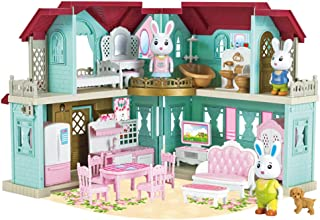 XDXDO Doll House Toy Set, DIY Pretend with Small Animals, Rabbit Doll, Mini Hut House Set, Camping Family Toys, Toddler 3 ...