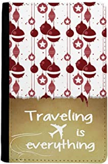 Red White Decoration Pattern Christmas Traveling quato Passport Holder Travel Wallet Cover Case Card Purse