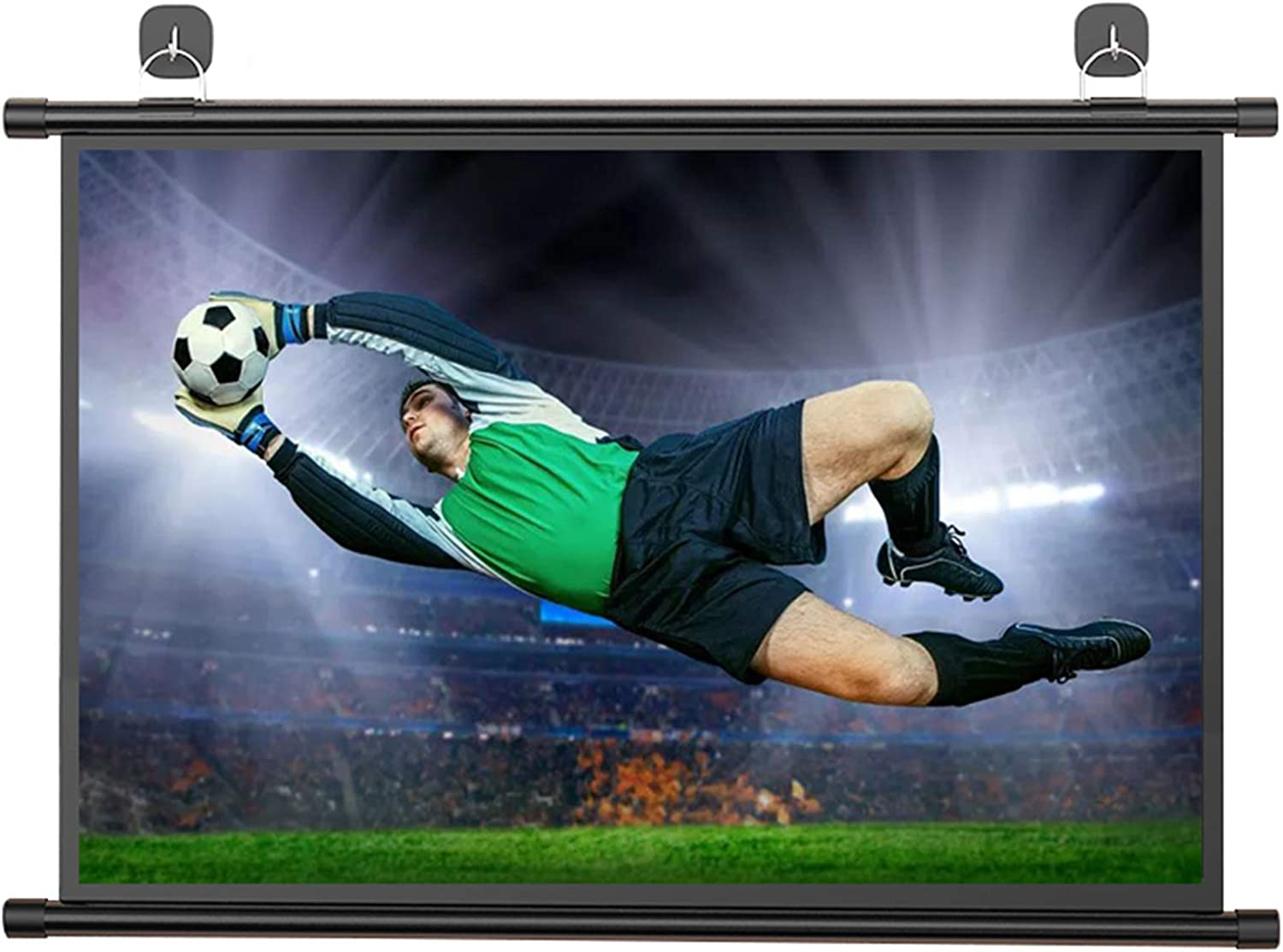 ALDS Hanging Projector Screen 60in 4:3 High Contrast Projection Screen Wrinkle-Free Easy Pull Public Display Screen for Entertainment Demo Room
