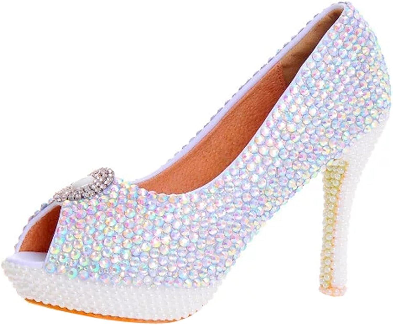 TDA Women's Peep Toe colorful Rhinestones Wedding Party Dress Stiletto shoes