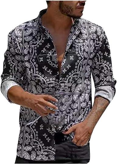 Camisas Casual para Hombre, Ocio Suelto Camisa de Manga Larga ...