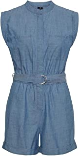 Vero Moda Vmakela SL Chambray Belt Playsuit Ga Mono Corto para Mujer