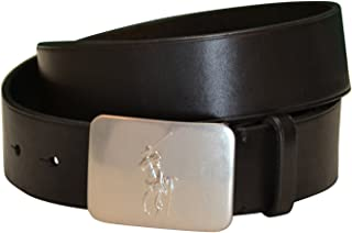 Mens Big Pony Logo Plaque Leather Belt