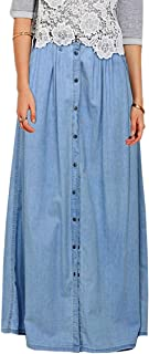 Vateno 2018 Summer XXL Fashion Casual Button Denim Jean Jeans Long Maxi Skirts Womens