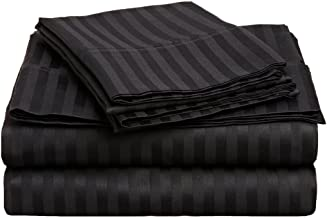Superior 300 Thread Count 100% Premium Combed Cotton, 4-Piece Bed Sheet Set, Deep Pocket, Single Ply, Sateen Stripe, California King - Black
