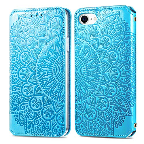 Trugox Mobiltelefonskal för iPhone SE 2020/iPhone 8/iPhone 7 skal läder blommor vikbart skal med kortfack flip fodral för Apple iPhone SE 2020/8/7/6/6S – TRSDA140020 blå