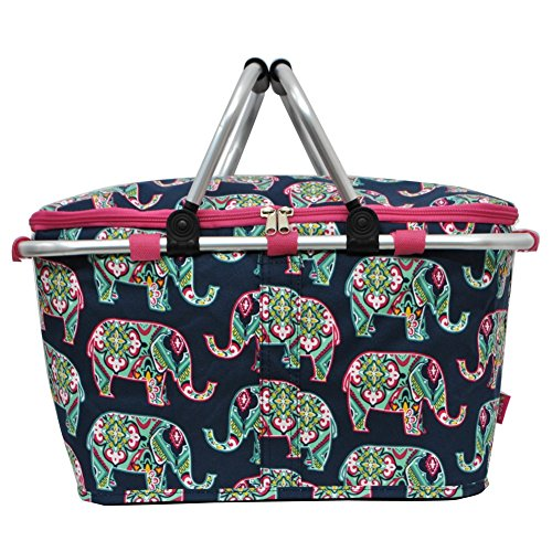 Floral Elephant Print Insulated Picnic Basket Bag