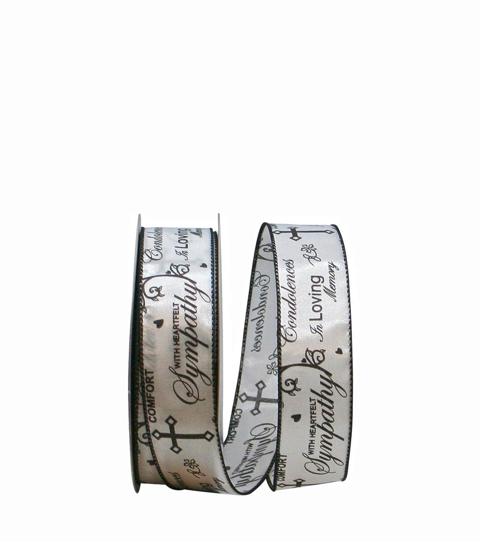 Reliant Ribbon 92610W-982-09J Words of Sympathy We Rd Ribbon, 1-1/2 Inch X 25 Yards, White/Black