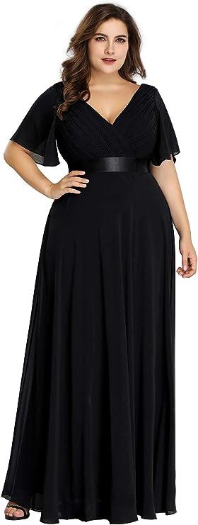 Plus Size Retro Dresses 50s, 60s ,70s, 80s, 90s Ever-Pretty Womens Plus Size Double V-Neck Evening Party Maxi Dress 09890  AT vintagedancer.com