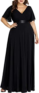 Women's Plus Size Double V-Neck Evening Party Maxi Dress...