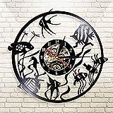 LED de colores reloj de pared de vinilo Goldfish wall art reloj de pared mínima decoración del hogar diseño moderno disco de vinilo reloj de pared jardín de infantes decoración del acuario reloj