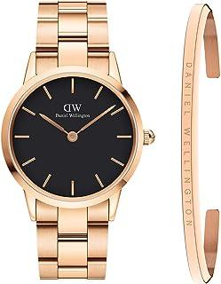 Daniel Wellington Unisex Iconic Link Watch and Classic Bracelet Gift Set, 36mm, Rose Gold/Black
