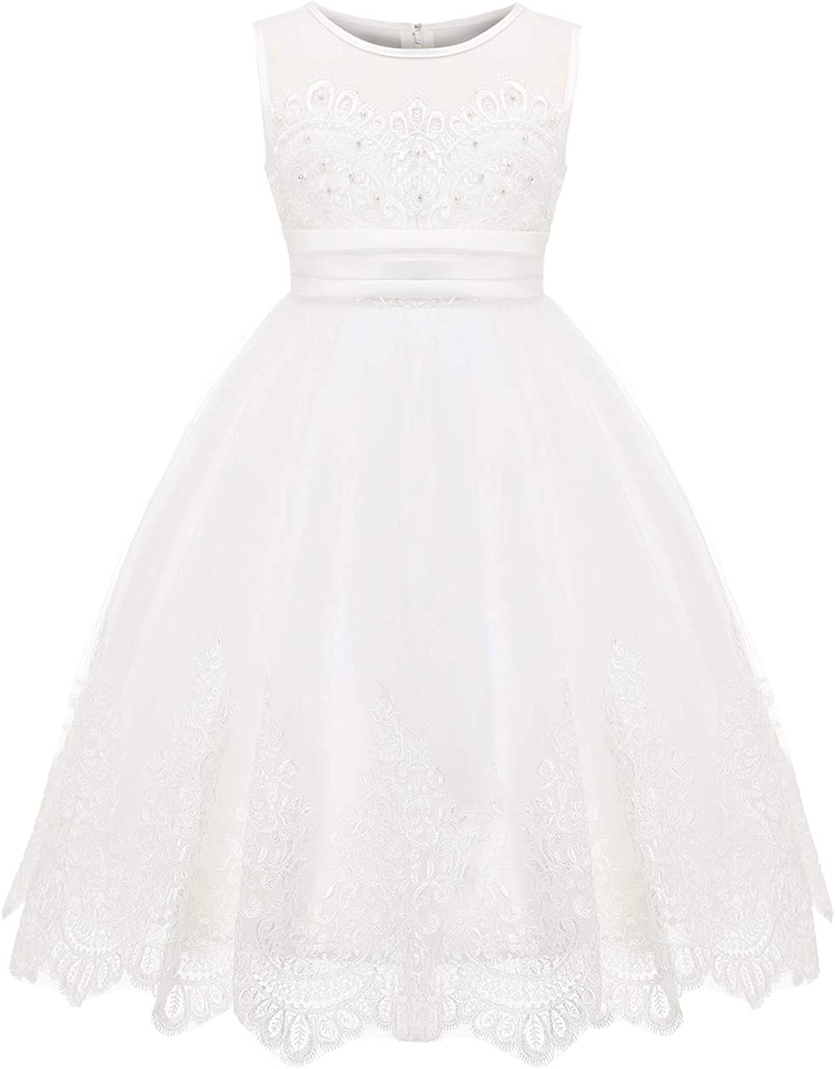 Girls Lace Bridesmaid Dress Long A Line Wedding Pageant Dresses Tulle Party Gown