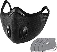 Carrfan- Dust Mask with 5 Replaceable Inner Pads Cycling Running Outdoor Face Mask Training Mask Dustproof Carbon Filtrati...