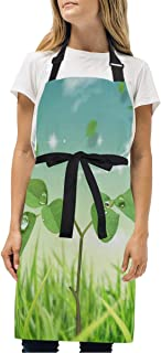 YIXKC Apron Nature Butterfly Green Adjustable Neck with 2 Pockets Bib Apron for Family/Kitchen/Chef/Unisex