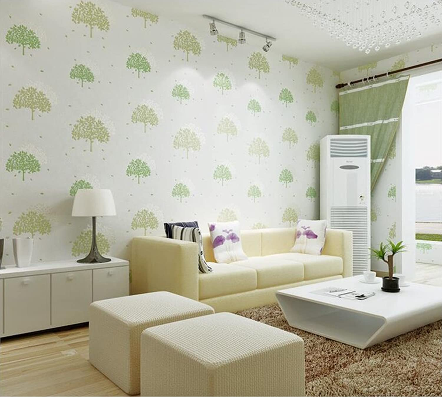 Wallpaper European Stereoscopic Flocking NonWoven Wallpaper Bedroom Living Room Wallpaper Background Wall Paper(0.53m10m) (color   A)