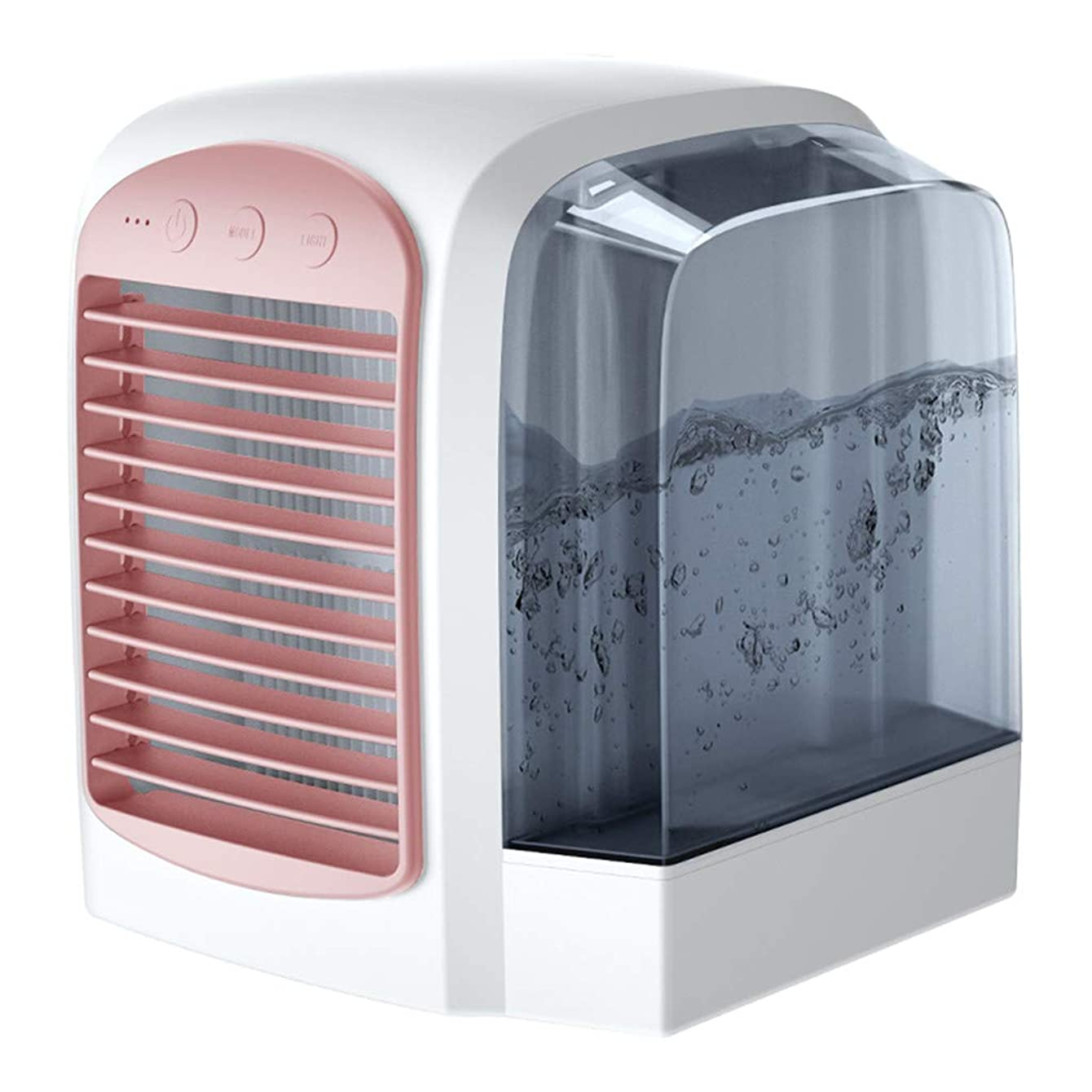 Pinleg Cooler Fan Portable Mini Air Conditioner Cool Cooling for Bedroom European Style Simple Water Air Fan Silent Water Cooling Fan Household Air Cooler Refrigeration Equipment Can (Pink)