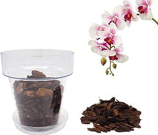 Kalapanta Kit per Rinvasare Le Orchidee: Vaso Trasparente con Fori drenaggio, Sottovaso e Terriccio specifico per Orchidee...