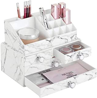 mDesign Decorative Plastic Makeup Organizers for Bathroom Vanity, Countertop, Cabinet - Stack for Vertical Storage - Easy-Access Cosmetic Storage with 4 Drawers, 16 Compartments - Set of 2 - Marble