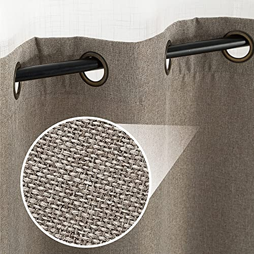Bedsure Linen Textured Curtains, Grommet Curtains for Living Room 84 inch Length 2 Panels, Beige Curtains for Bedroom(52 X 84inch,Beige)