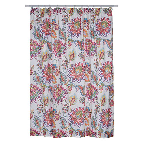 Levtex Home - Palladium Coral - Shower Curtain with Grommets - One Shower Curtain Panel 72 x 72 inch - Jacobean Floral - Orange, Turquoise, Green, Red, Citron, Yellow - 100% Cotton - Lined