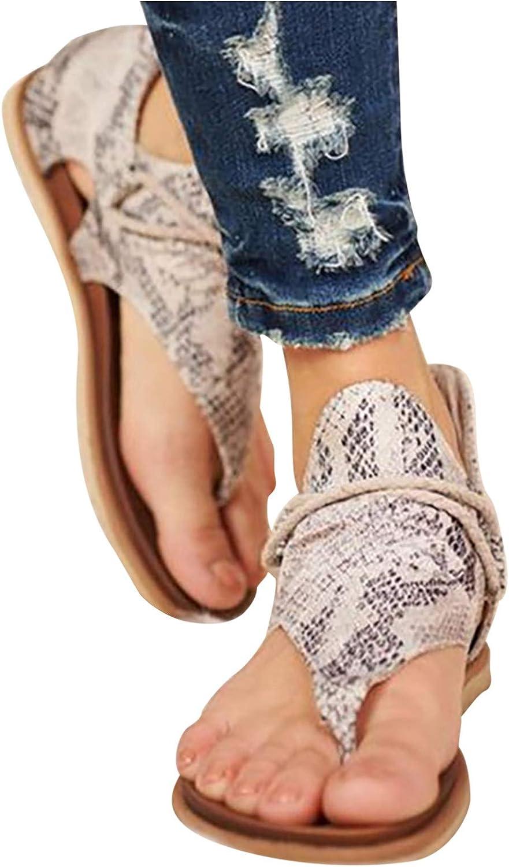 Sandals for Women Summer Bohemian Beach Sandals Casual Comfy Gladiator Sandals Retro Back Zip Flat Heel Clip-Toe Shoes