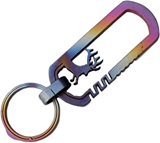 Rainbow Anodized Integral Wire Cut Reindeer Key Ring Hook