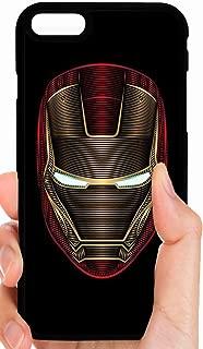 Iron Man Head Line Art Black Background Superhero Phone Case Cover - Select Model (iPhone 8 Plus)