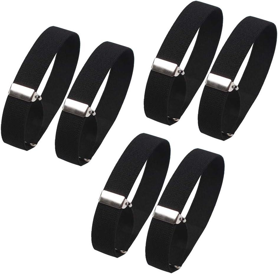 6 Pieces (3 Pairs) Elastic Adjustable Armbands Sleeve Hold Ups Sleeve Bands Anti-Slip Shirt Sleeve Holders Hold Up Sleeve Garters Elastic Armbands (Black)