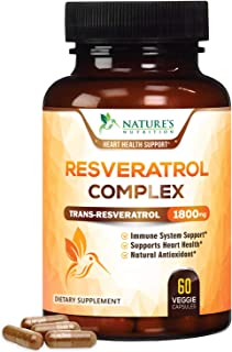 Sponsored Ad - Resveratrol 1800mg Per Serving - Natural Heart Support - Made in USA - Extra Strength Trans-Resveratrol Sup...
