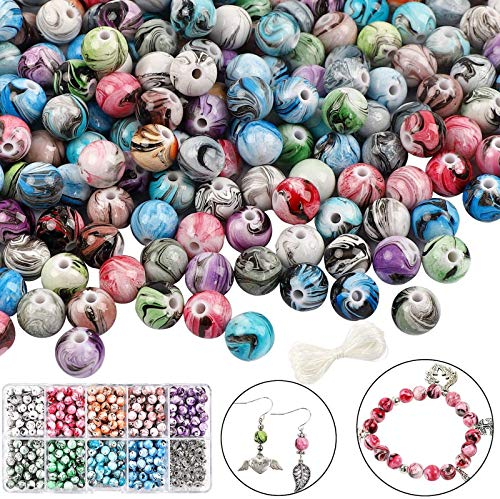 DICOBD 540pcs 8mm Beads for Jewelry Making Multi Color Acrylic Round Loose Marble Beads in Ink Patterns with 80pcs Spacer Beads and Elastic String for Making Bracelets