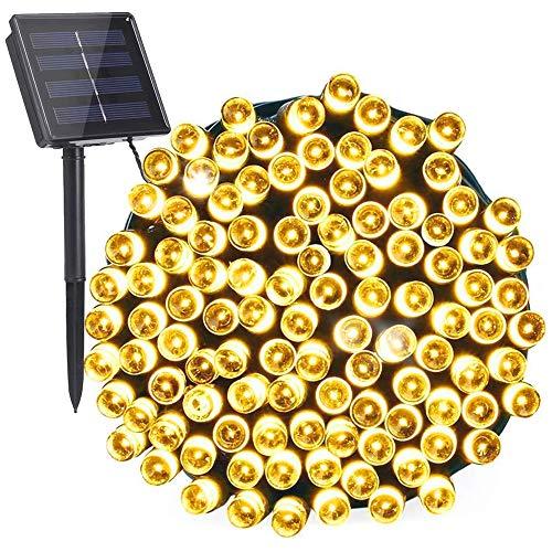 LIGHTDOT 22 m 200 LED Cadena Luces Solares al Aire Libre, Impermeables IP44, 8 Modos Luces Solares para Patio, Terraza, Pabellón, Carpa, Porche, Jardín, árbol, Interior, Balcón, Luces de Decoración para Navidad, Fiesta,Boda.