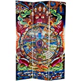 Oriental Furniture 6 ft. Tall The Wheel of Life Double Sided Canvas Room Divider