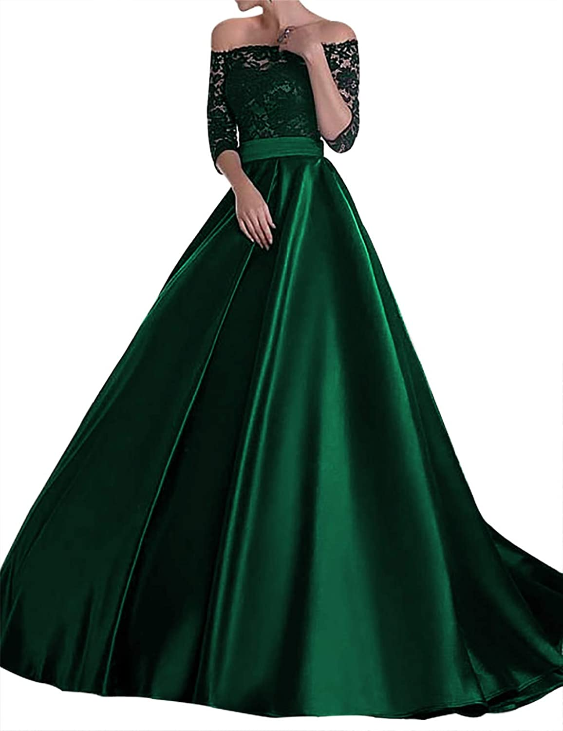 Scarisee Women's 3 4 Sleeves Off Shoulder Prom Evening Dress Lace Mother Gown104