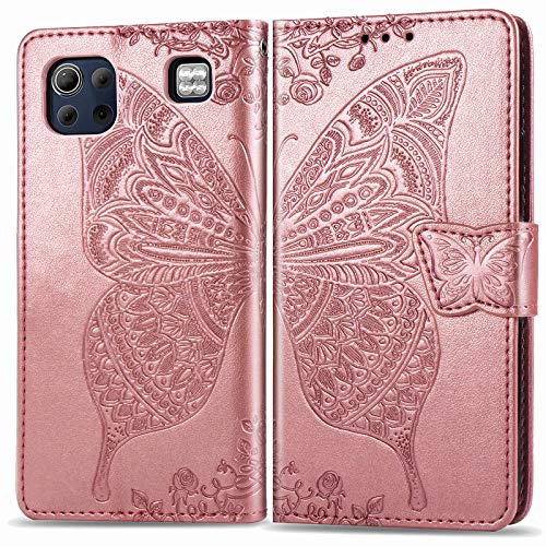 Leather Wallet Case for LG K92 5G, Flip Case Leather with Kickstand,Folio Magnetic Closure Protective Cover with Card Slots for LG K92 - DESD022278 Rose Gold