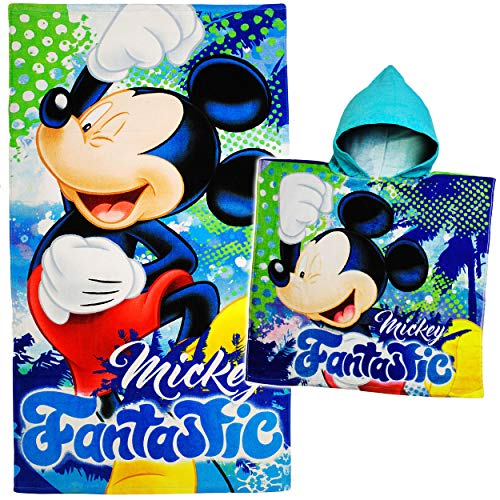 alles-meine.de GmbH 2 TLG. Set _ Badetuch / Strandtuch + Poncho - Disney - Mickey Mouse - Baumwolle 100 % - 70 cm * 140 cm - Frottee / Velours - Handtuch - Mädchen Jungen - 70x14..